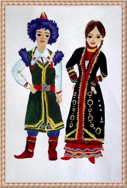 Башкирские костюмы рисунки